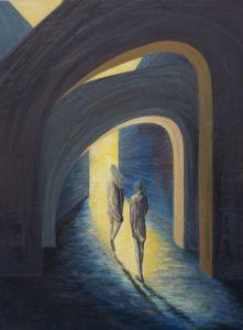 Mischtechnik auf Hartfaser, eine junge Frau und ein junger Mann gehen durch zwei Torbögen iauf das Licht zu