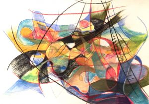 Pastell- und Kohlezeichnung von farbigen, abstrakten Formen, erinnert an Klee