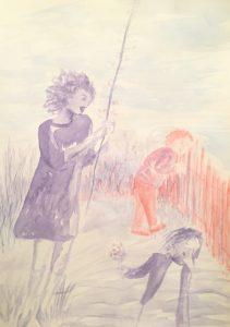 Tusche auf Papier von einer Mutter mit zwei Kindern