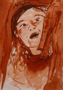Tusche auf Papier von einem staunenden Kind