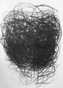 Kohlezeichnung, meditierend, abstrakt
