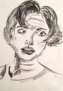 Tusche auf Papier von einem Frauenkopf