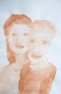 Tusche auf Papier von zwei Köpfen, Mann und Frau