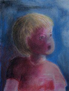 Tusche und Pastell auf Papier von einem kleinen Kind