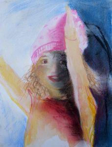 Tusche und Pastell auf Papier von einem jubelnden Kind