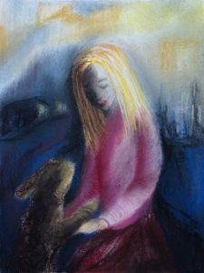 Tusche und Pastell auf Papier von einem Mädchen mit Hund