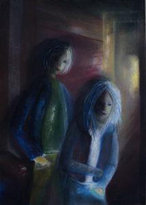 Tusche und Pastell auf Papier von zwei Jungen in einer düsteren Gasse