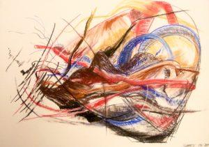 Pastellzeichnung von Ästen, farbig abstrahiert
