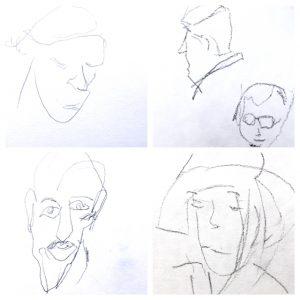 Bleistiftzeichnung von vier verschiedenen Köpfen