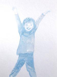 Tusche auf Papier, ein Junge mit ausgestreckten Armen in blau