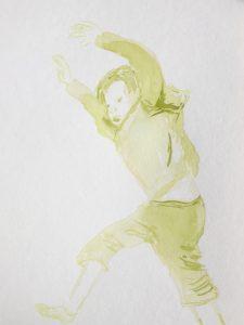 Tusche auf Papier, ein springender Junge in grün