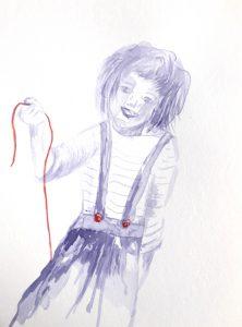 Tusche auf Papier, ein Mädchen mit einem Seil in der Hand