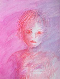 Tusche auf Papier, ein Kind in rosa und lila