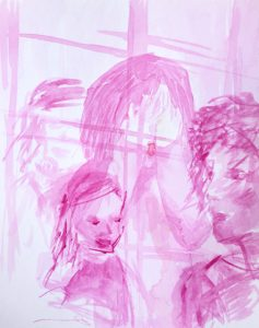 Tusche auf Papier, vier Personen, ein Kind steht vor der Fensterscheibe und hält sich die Augen zu