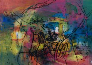 Gouache, Ölpause auf Papier, ein Kind im Vordergrund, welches mit den Elementen spielt