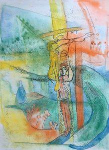 Gouache, Ölpause auf Papier, wirkt religiös, eine Person steht am Weg unter einem Kreuz