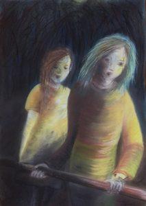 Tusche und Pastell auf Papier von zwei Mädchen im Wald mit der Frage Wohin?