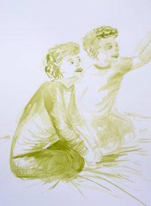 Tusche auf Papier, ein junges Paar auf dem Boden sitzend