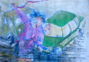 Monotypie, Gouache auf Papier, vor den Spielzeugautos steht ein Kind, welches Bänder in der Hand hat