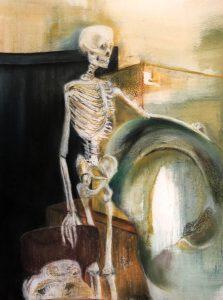 Mischtechnik, Pastell, Kohle auf Papier, Gerippe im Zentrum, Anatomieraum