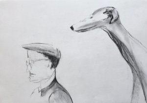 Bleistiftzeichnung einer Seitenansicht von einem Mann mit Hut und Brille und einem Hund