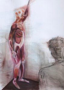 Mischtechnik, Pastell, Kohle auf Papier, Ein menschliches Gerippe, schräg davor ein e Person, die in die Richtung des Gerippe schaut