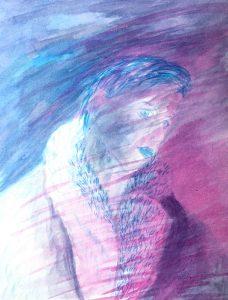 Tusche auf Papier, androgyn Person im Pelz