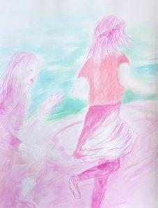 Tusche auf Papier, zwei Mädchen, die am Wasser entlang laufen