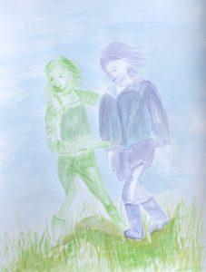 Tusche auf Papier, Zwei Kinder laufen über die Wiese