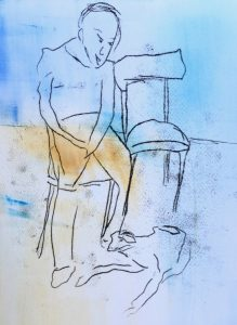 Kasein, Ölpause auf Papier, sitzender Mann, daneben ein weiterer Stuhl, vor dem Mann liegt ein Hund