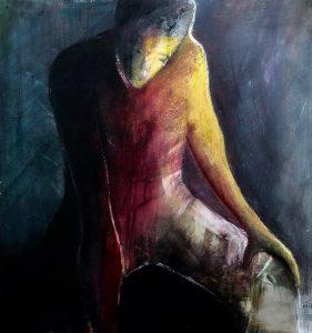 eine nachdenkliche, androgyne, sitzende Gestalt, Tusche, Gouache, Pastell auf MDF,
