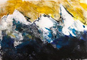 Monotypie, Ölpause auf Papier, Berglandschaft