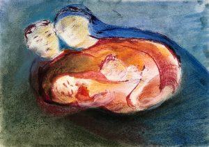 Mariafigur mit Mann und zwei Kindern, Monotypie, Pastell auf Papier, 21x29,5cm, 2019