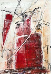 Windmühle, Mischtechnik, Filzstift auf Papier