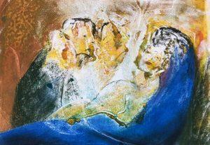 Mariafigur mit Kind im Arm, Monotypie, Pastell auf Papier, 21x30cm, 2019