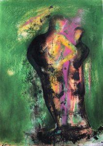 zwei Gestalten, eine nackte Frau im Vordergrund, die nach hinten zu einem Mann blickt, Mischtechnik, Pastell auf Papier