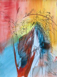 Mischtechnik, Ölpause auf Papier, abstrakt, wirkt wie die Arche Noah