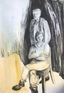Kohlezeichnung auf Kaseinfarben, eine Frau sitzend, ein Mann steht hinter ihr, beide schauen in verschiedene Richtungen, als hätten sie sich nichts zu sagen