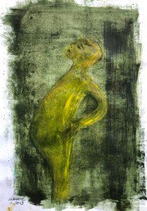 ein Junge, beide Hände in die Hüfte gestützt, Seitenansicht, Monotypie, Öl auf Papier