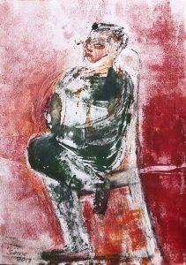 auf einem Stuhl sitzender Mann,Monotypie, Kohle, Pastell auf Papier, 29,5x21cm, 2019