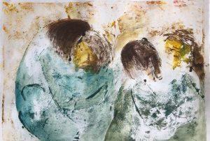 zwei sich umarmende Paare, Monotypie, Pastell auf Papier, 22x31,5cm, 2019