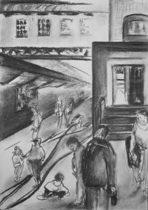 Kohlezeichnung vom Geschehen auf der alten Baumwollspinnerei Leipzig
