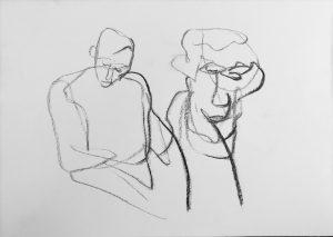 """""""Studie"""" 2 von zwei Personen Kohle auf Papier, 42x29,5cm, 2019"""