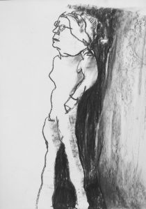 "Karikatur einer Frau ""Studie"" 6 Kohle auf Papier, 42x29,5cm, 2019"