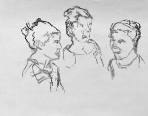 """Dreifache Karikatur von einer Frau """"Studie"""" 3 Kohle auf Papier, 23x30cm, 2019"""