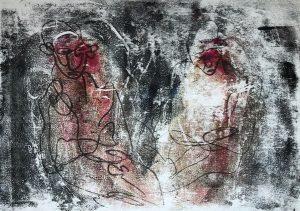 Zwei Gestalten in einer Hülle, Monotypie auf Pastell auf Papier, 29,7x42cm, 2019