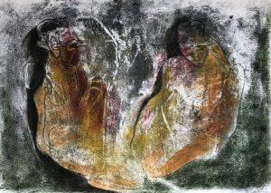 Zwei Gestalten in einer Hülle, Monotypie, Pastell auf Papier, 29,7x42cm, 2019