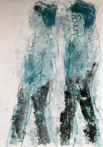 Zwei Gestalten von der Seite, Monotypie auf Papier, 42x29,7cm, 2019