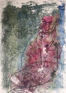 Zwei Gestalten, Monotypie auf Papier, 30x21cm, 2019