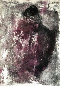 Eine in sich gekehrte Gestalt, Monotypie,Kohle auf Papier, 30x21cm, 2019